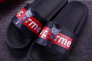 Тапки Supreme black\red